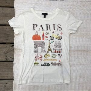 J. Crew white semi sheer Paris graphic t shirt